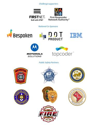 This image shows logos for FirstNet Built with AT&T, First Responder Network Authority, Bespoken, DOT Product, IBM, Motorola Solutions, Topcoder, Arlington Fire, Chicago Policy, City of Houston, Houston Police, Miami Police, Office of United Communications, and RockFord Fire