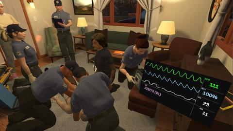 This image shows virtual first responders around a virtual patient in a virtual living room.