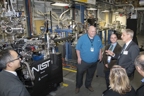 A picture of the NIST resonant soft xray instrument and visiting NIST scientists