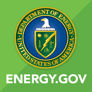 Image of U.S. Department of Energy's logo on a green background, with the text energy.gov below the logo