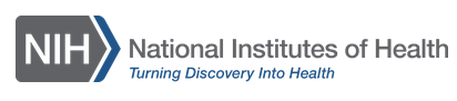 "Logo of the NIH, with the text ""National Institutes of Health. Turning Discovery into Health"""