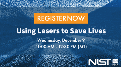"A web banner prompting users to register for the upcoming ""Using Lasers to Save Lives"" webinar on December 9 at 11:00 AM."