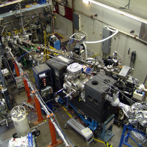 Overhead view of a room full of scientific equipment