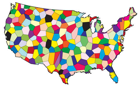 A map of The United States of America showing the states in mosaic of different colors.