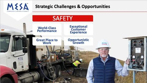 Slide image of MESA's Strategic Challenges and Opportunities with a focus on SAFETY (World-Class Performance, Great Place to Work, Exceptional Customer Experience, Opportunistic Growth).
