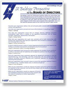 A Baldrige Perspective for the Board of Directors Cover Page
