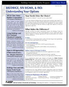 Baldrige, Six Sigma, & ISO: Understanding Your Options Cover Page