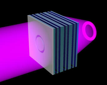 A NIST team has created an ultraviolet (UV) metamaterial formed of alternating nanolayers of silver (green) and titanium dioxide (blue)