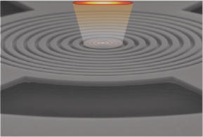 Schematic of an AFM cantilever (shown here is a NIST HammerHead cantilever) presses against the surface of a piece of graphite that levitates in a magnetic field.