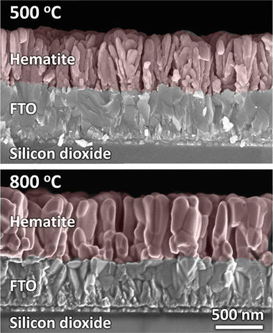 False-color SEMs of cross-sectioned hematite films.