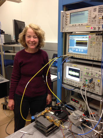 NIST engineer Kate Remley with her 94 gigahertz calibrated signal source for testing receivers and other devices.