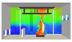 Computer simulation based on a NIST fire test conducted during the investigation of the collapse of the World Trade Center towers. Image shows flames impacting a model of a WTC steel floor truss without any fire-resistant insulation.