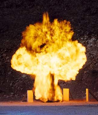 detonation within a blast-resistant trash receptacle