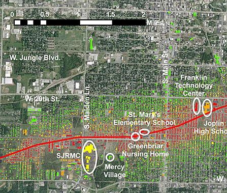 joplin tornado path map