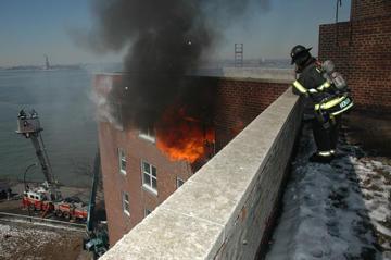 burning apartment building