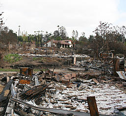 photo of burned homes