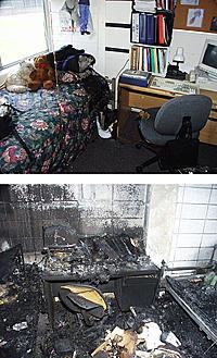 Post-fire photos of dorm room