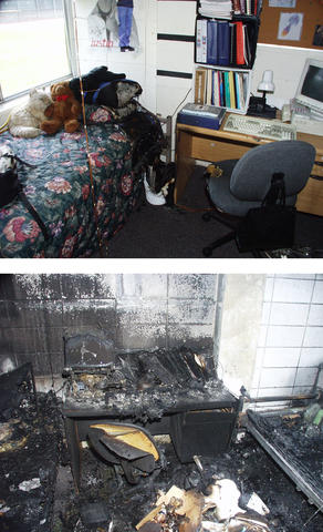 Post-fire photos of dorm rooms in sprinkler tests.