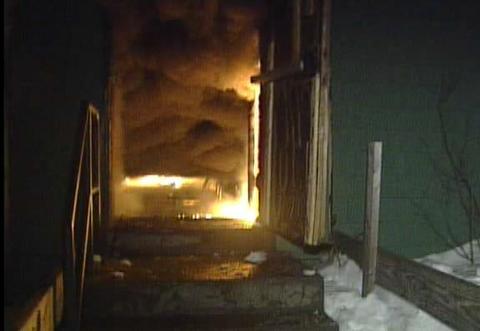 Exit door near platform during fire.
