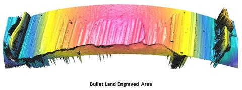 3D topography of a bullet land engraved area