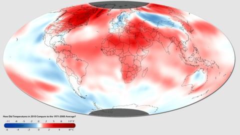 NOAA global temperature map