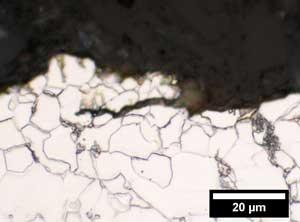 Micrograph of crack in X52 steel