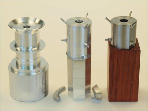 Internally machined experimental apparatus parts