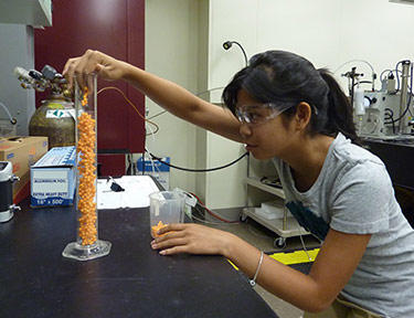 High school student Jessica Young checking the packing density of random aggregates of plastic spheres in a cylinder.