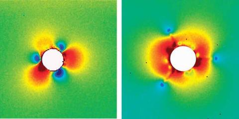 Raman spectroscopy map of spherical indentations in silicon showing changes in stress field as cracks initiate in right image.