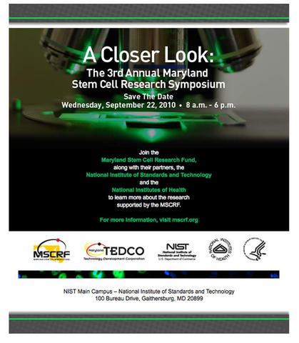 Maryland Stem Cell Research Symposium Save-the-Date