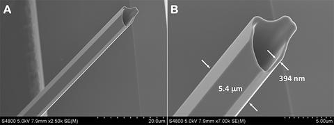 The scanning-electron image shows a potassium diphosphate (KDP) crystal at higher resolution with scale added.