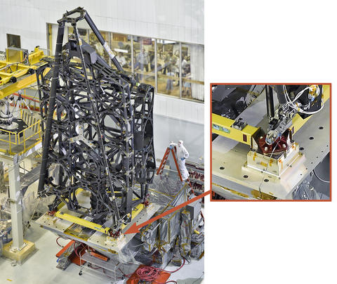 The complete Primary Mirror Backplane Support Structure for the James Webb Space Telescope. The inset shows the location of the four support mounts of the type that NIST measured.
