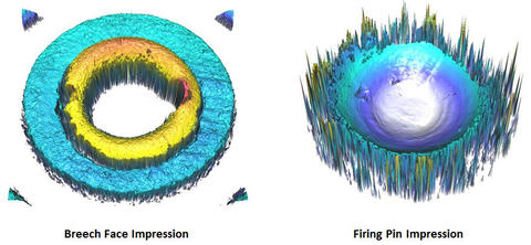 This image shows 3-dimensional topographic surface maps of the breech face and firing pin impressions left in the primer at the base of the cartridge case.
