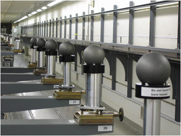 Ranging test for laser scanners using a 1D ball array.