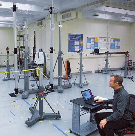 a participant performing measurements