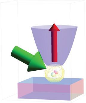 illustration of nitrogen vacancy within a diamond crystal