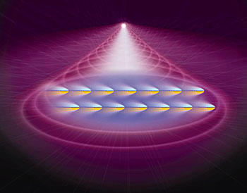 This artist's conception shows atoms in a Bose-Einstein Condensate (BEC) being pushed by laser light.