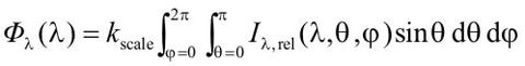 Absolute total spectral radiant flux equation