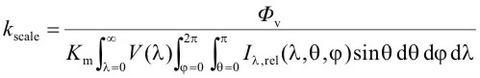 Scale factor equation for total spectral radiant flux