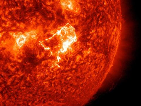 the Sun seen at 30.4 nanometers
