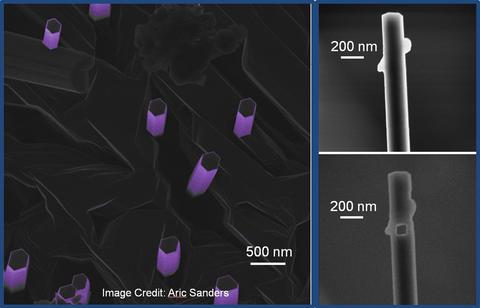 Image of gallium nitride wires.