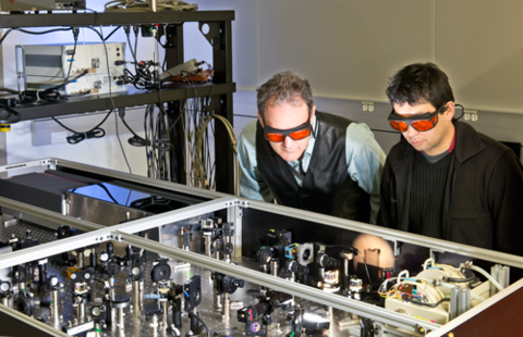 photo of researchers at optics table