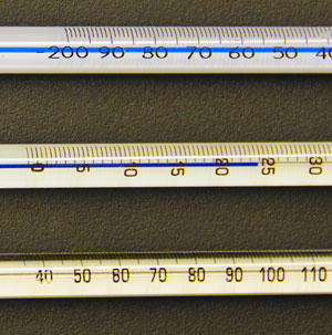 A selection of analog thermometers