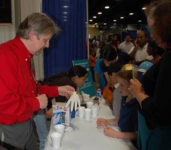 Richard Steiner demonstrates the properties of dry ice.