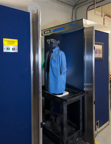 A phantom (life-size dummy) in the scanner