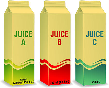 juice cartons showing different kinds of labeling