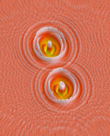 "A simulation made with NIST micromagnetic software shows the interaction of ""spin waves"" emitted by two nano-oscillators that generate microwave signals."