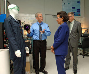 Secretary Priztker visiting a lab