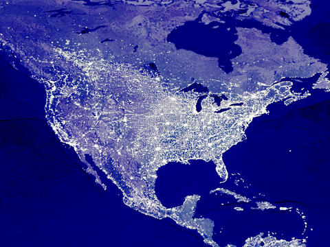 USA map at night