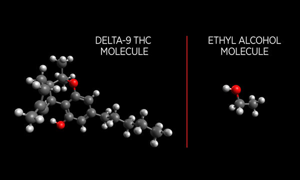 Comparison of THC and Ethyl Alcohol Molecules